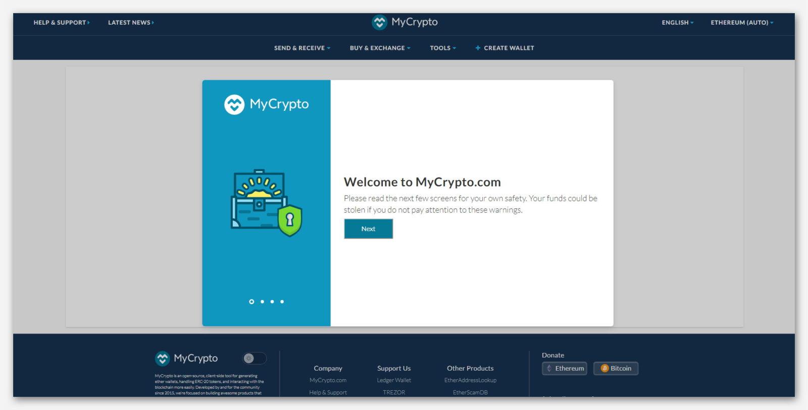 Главная страница Ethereum кошелька MyCrypto
