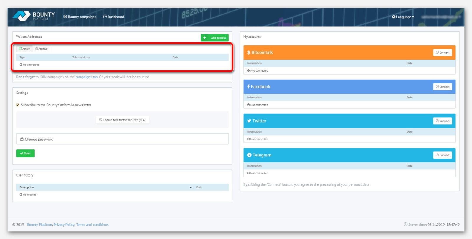 Страница активных кошельков, на платформе BountyPlatform