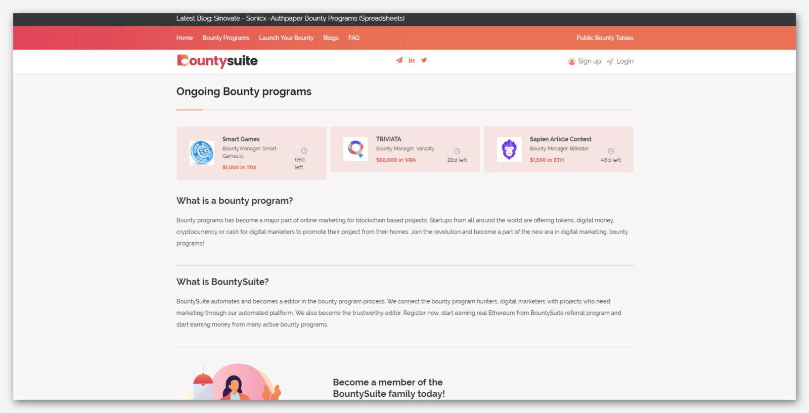 Заработок токенов и криптовалют без вложений на платформе BountySuite