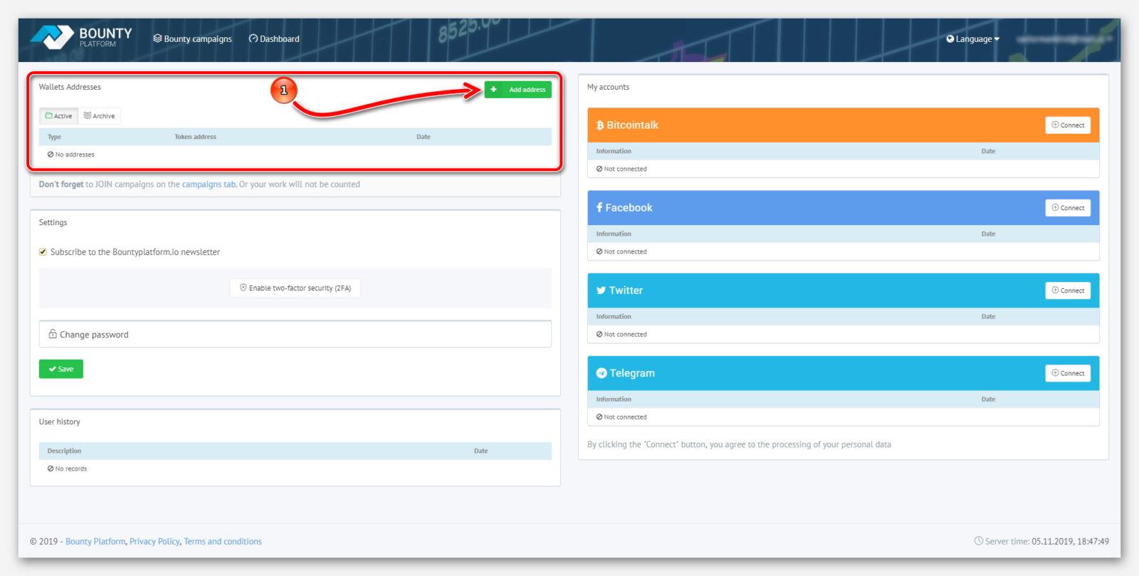 Страница криптовалютных кошельков, на сайте BountyPlatform