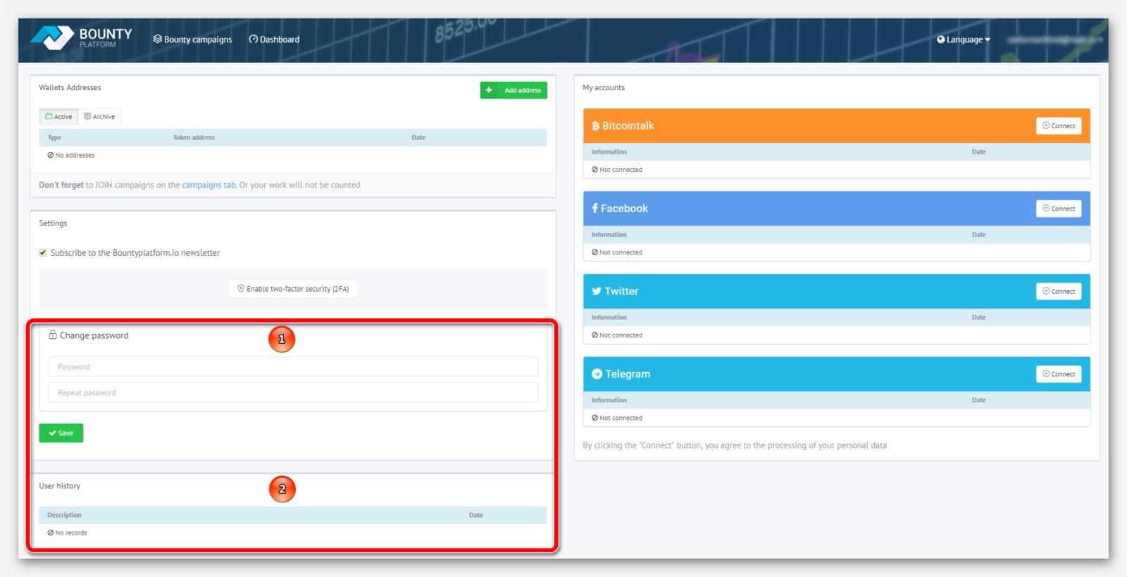 Форма для изменение пароля и история действий, на платформе BountyPlatform