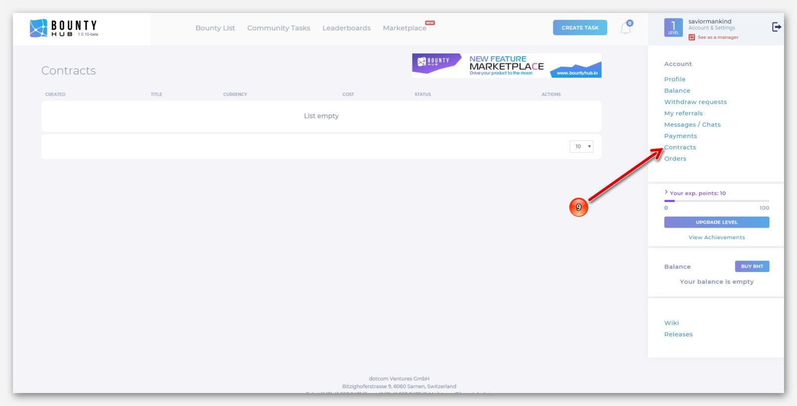 Контакты, на платформе BountyHub