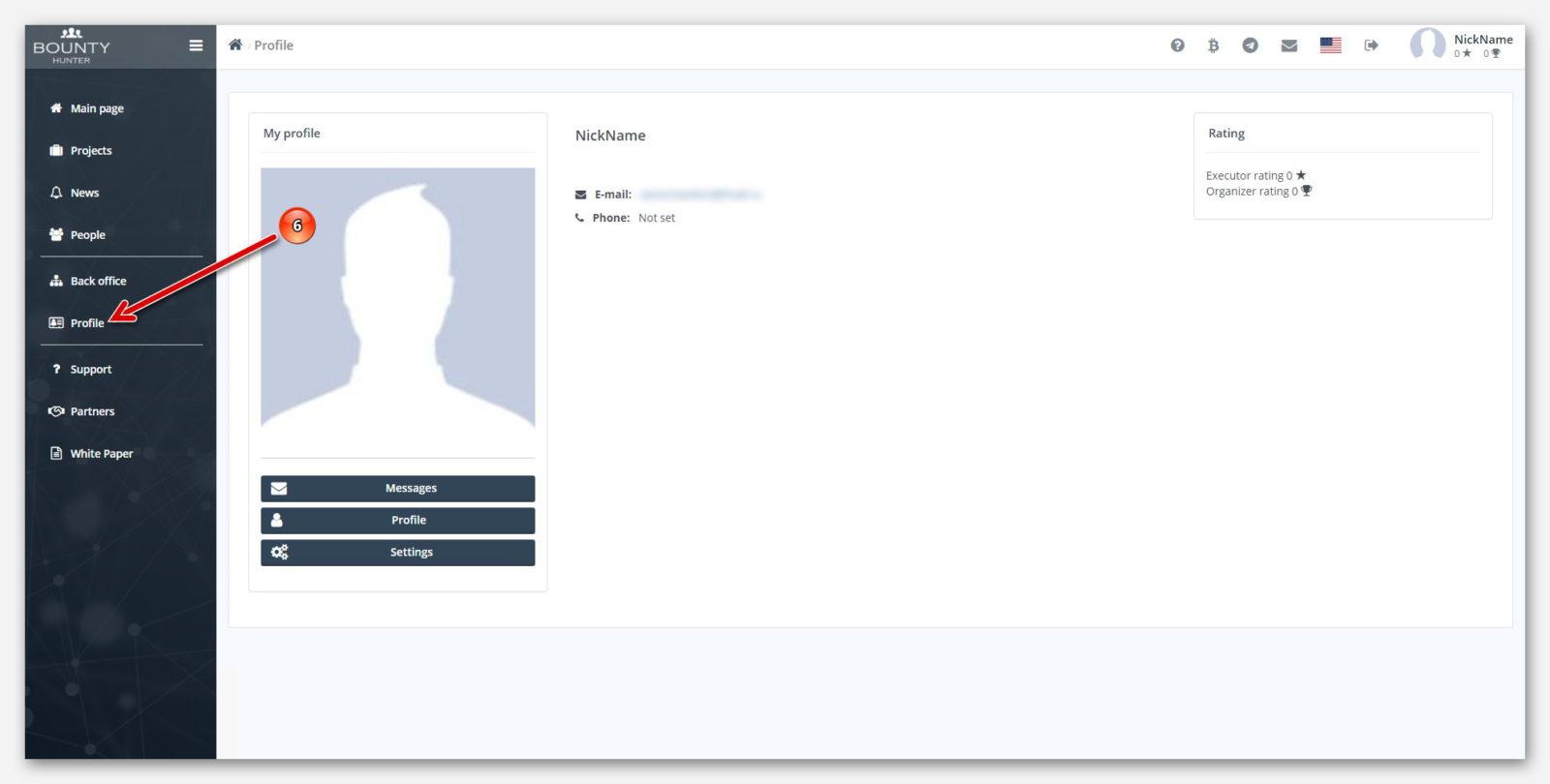 Личный профиль, на платформе BountyHunter