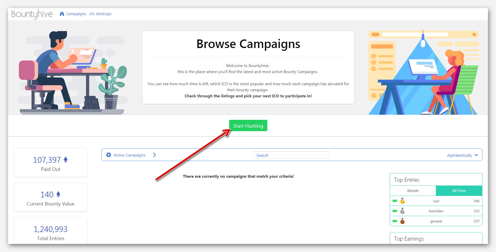 Регистрации на платформе BountyHive, проект о Bounty кампаниях