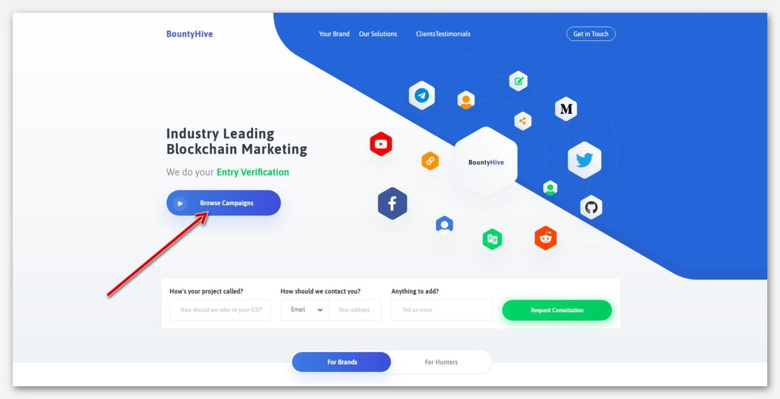 Главная страница на платформе BountyHive, сайт о бесплатном  заработке токенов и криптовалют