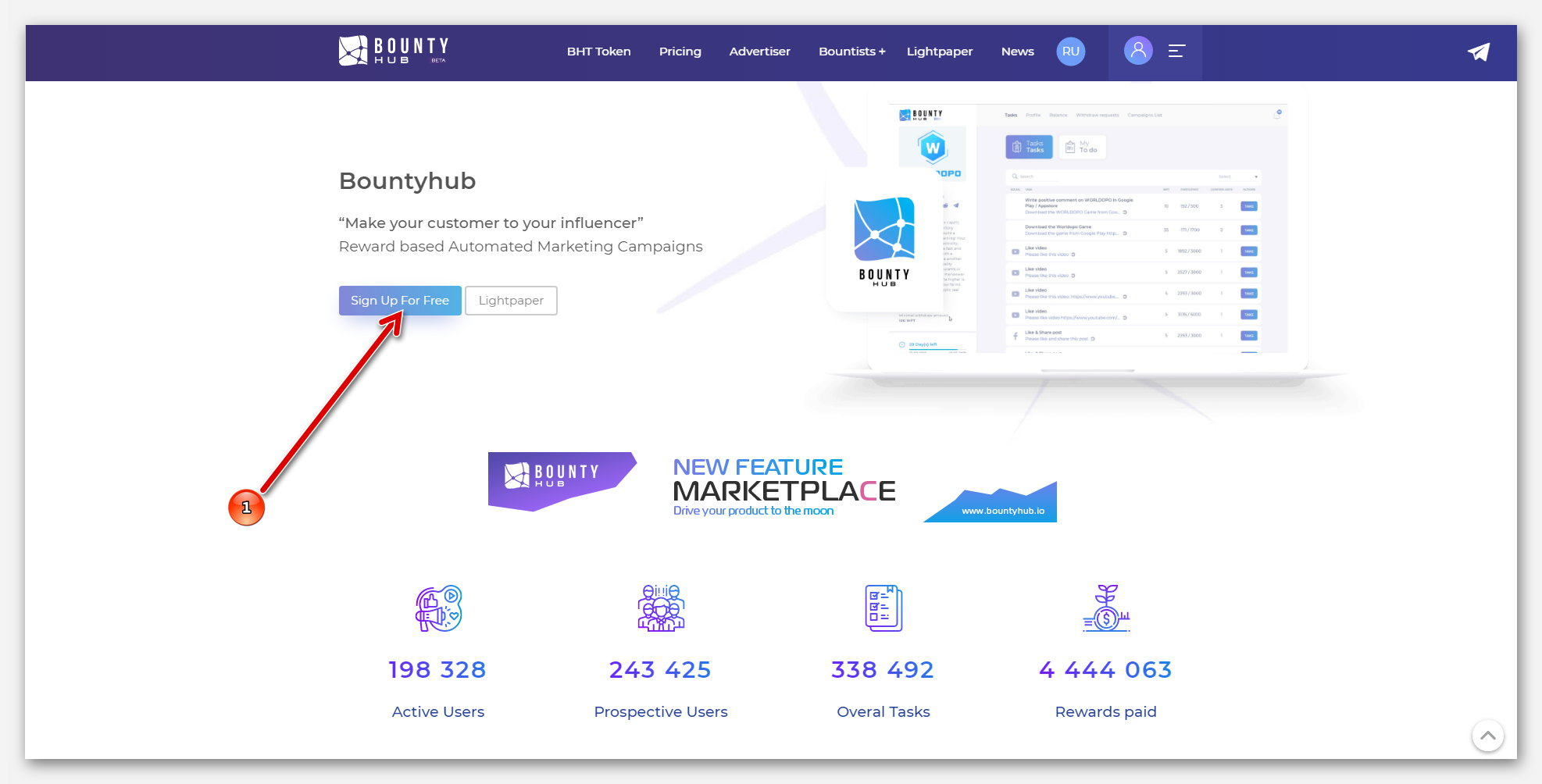 Главная страница на платформе BountyHub