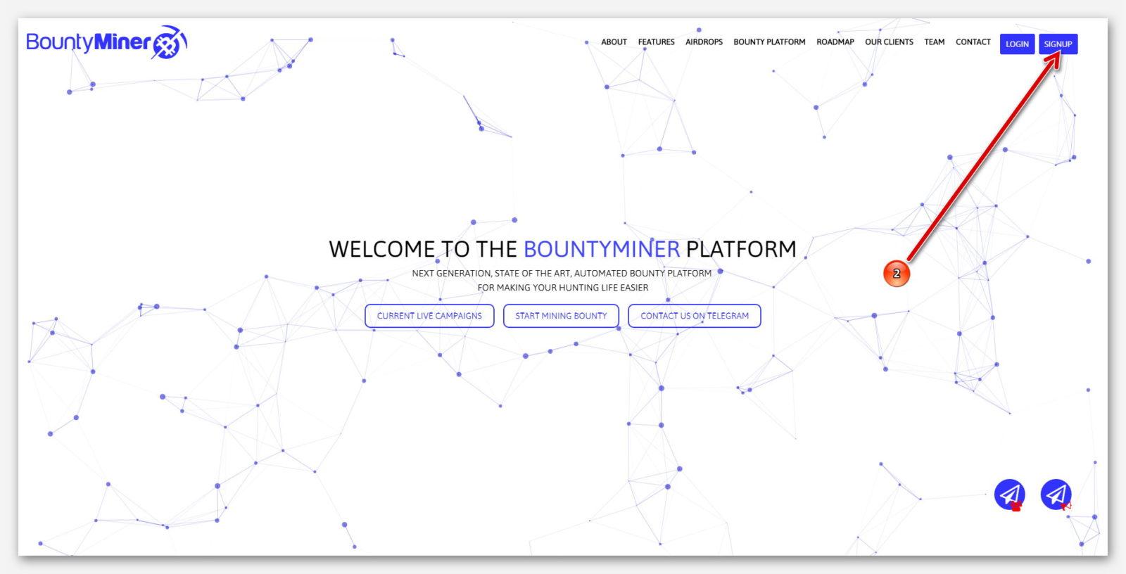 Главная страница, на платформе BountyMiner