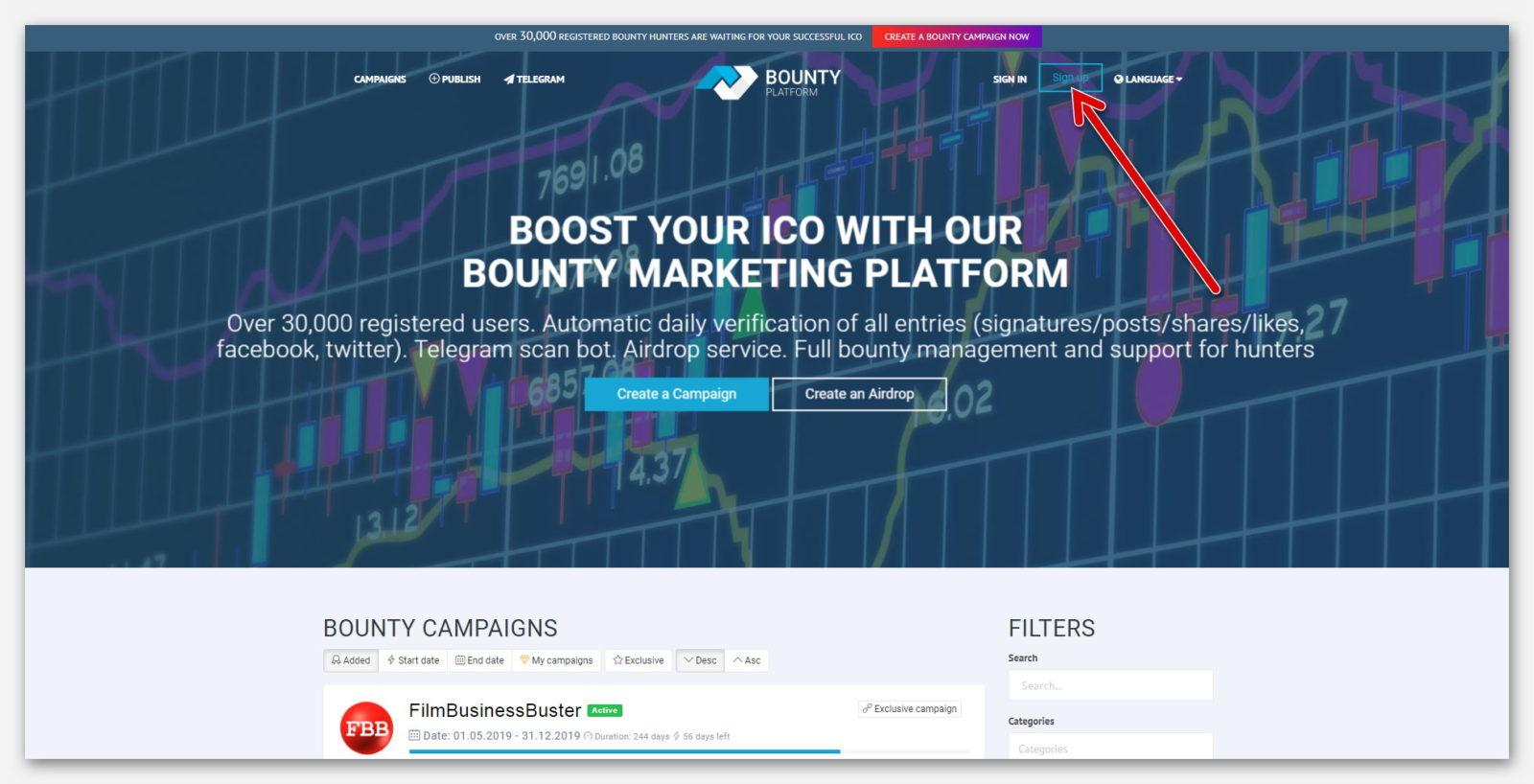 Начало регистрации на платформе BountyPlatform