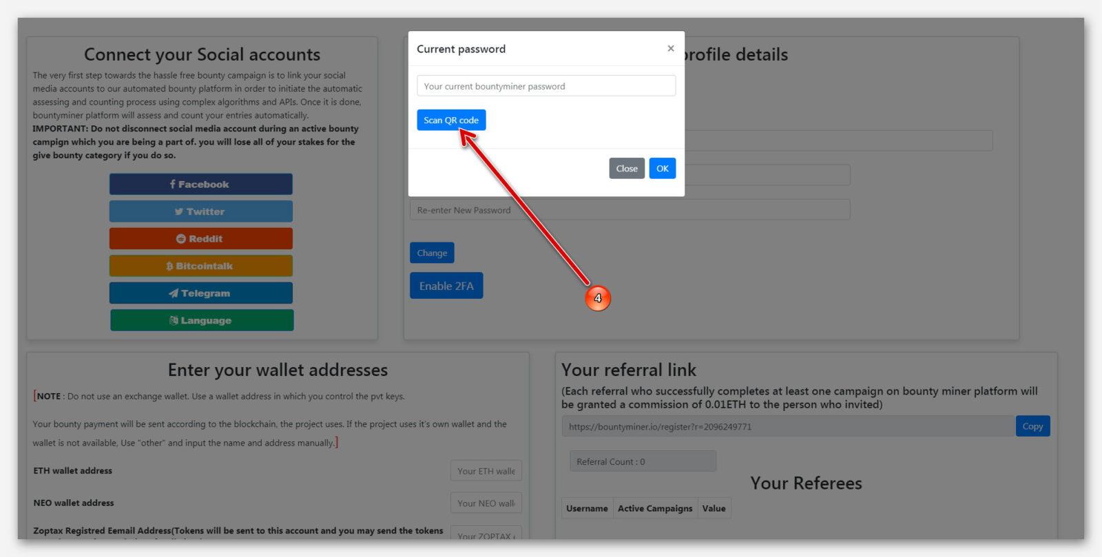 Синяя кнопка для сканирования QR-кода, на платформе BountyMiner
