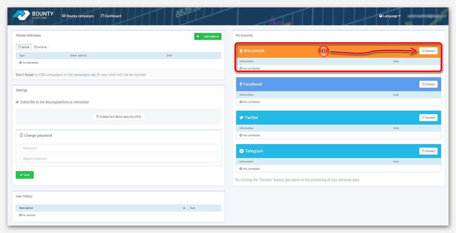 Подключение Bitcointalk к платформе BountyPlatform