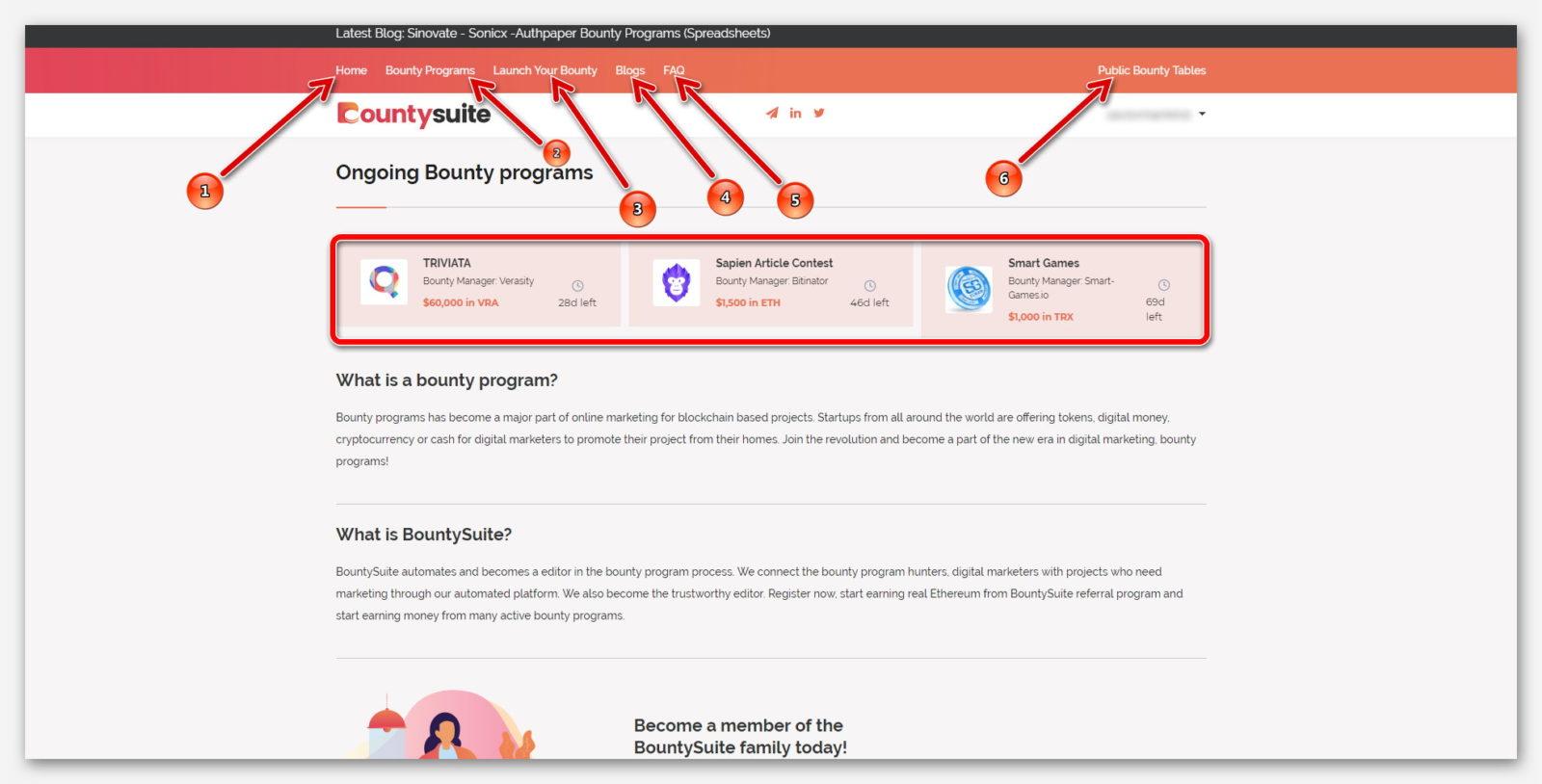 Обзор главной страницы на платформе BountySuite