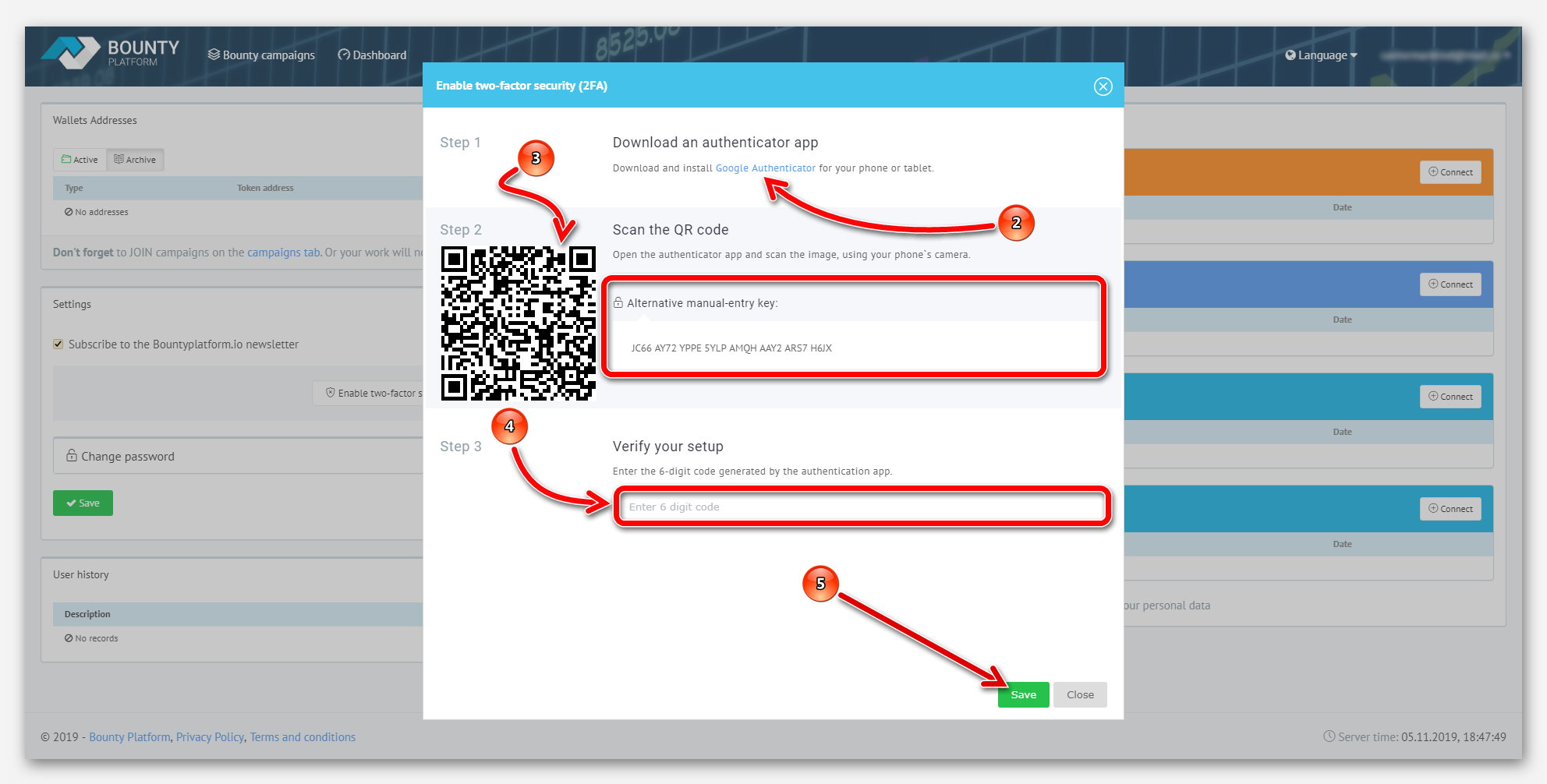 Podklyuchenie 2FA (Dvukhfaktornaya autentifikatsiya) na platforme BountyPlatform