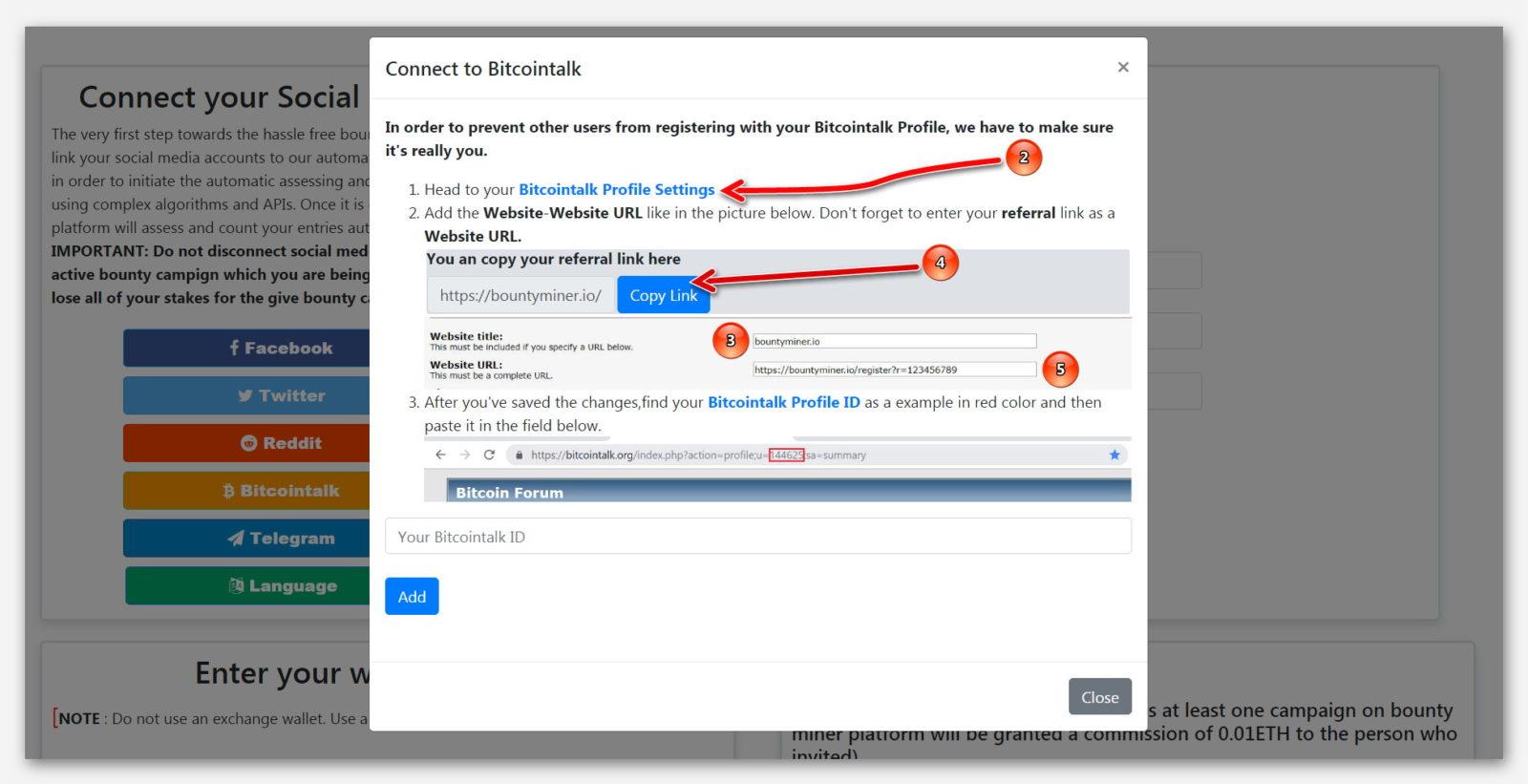 Форма для подключение Bitcointalk к платформе BountyMiner