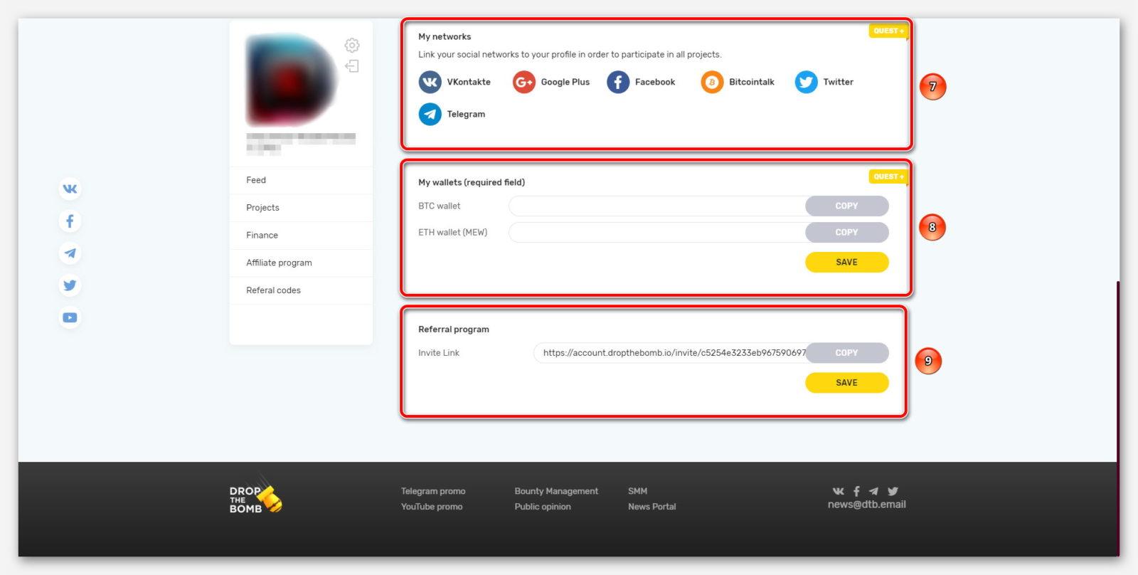 Подключение соц-сетей и крипто-кошельков, на платформе DropTheBomb