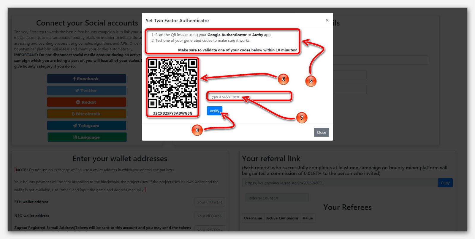 Страница, для подключения Подключить 2FA, к платформе BountyMiner