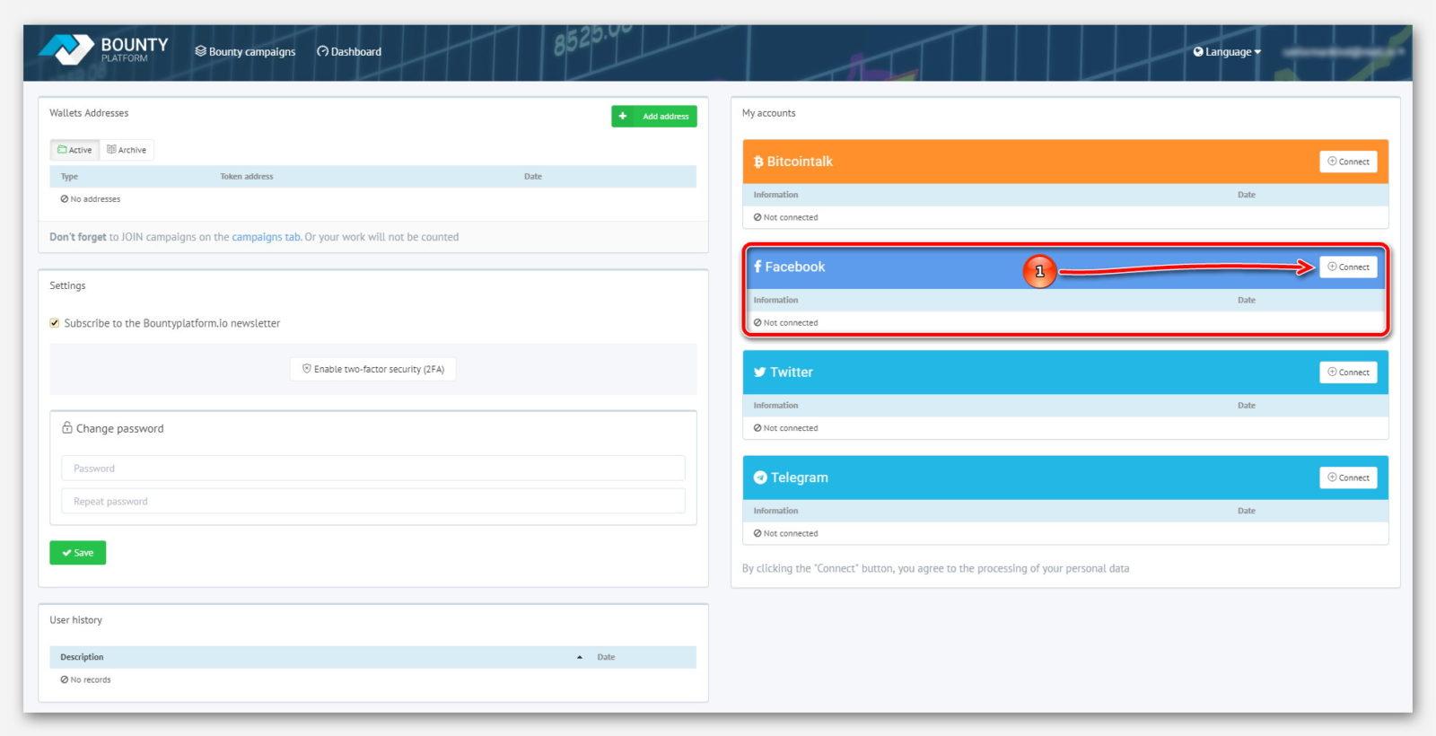 Раздел для подключение Facebook к платформе BountyPlatform