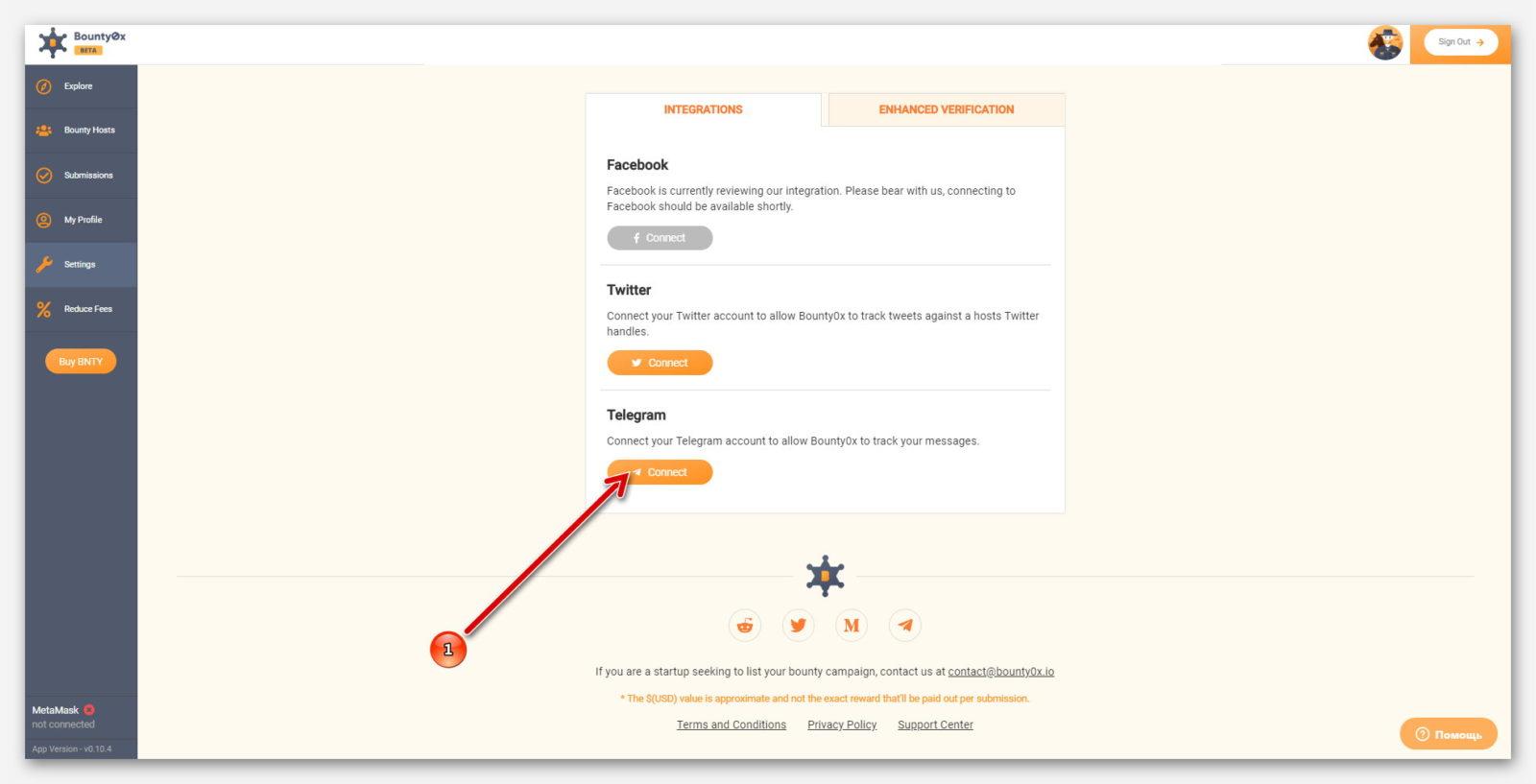 Оранжевая кнопка для подключение Telegram, к платформе Bounty0x
