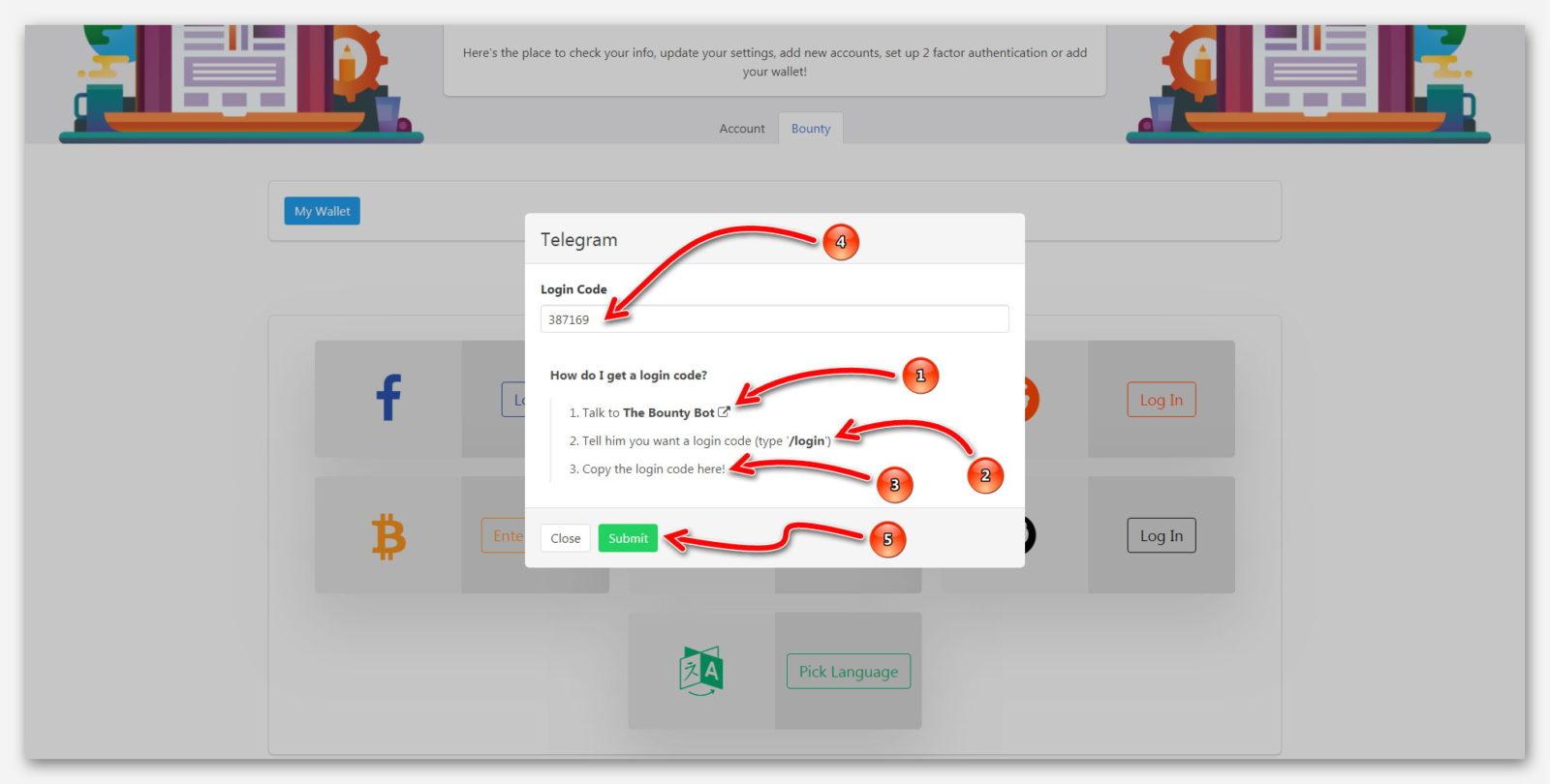 Подключение Telegram к платформе BountyHive