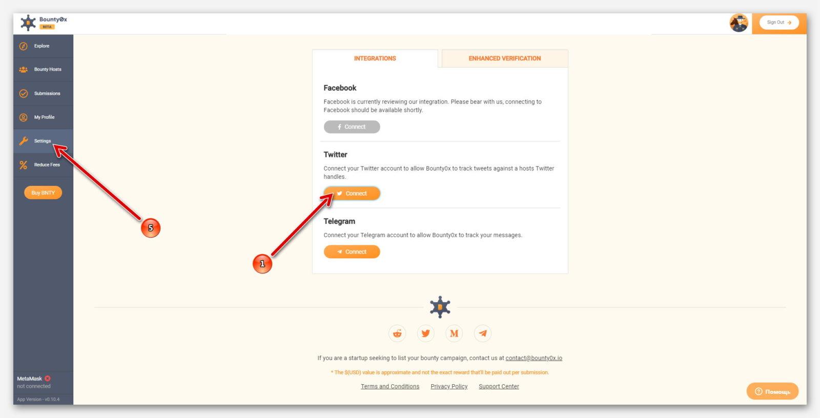 Оранжевая кнопка, для подключение Twitter к платформе Bounty0x