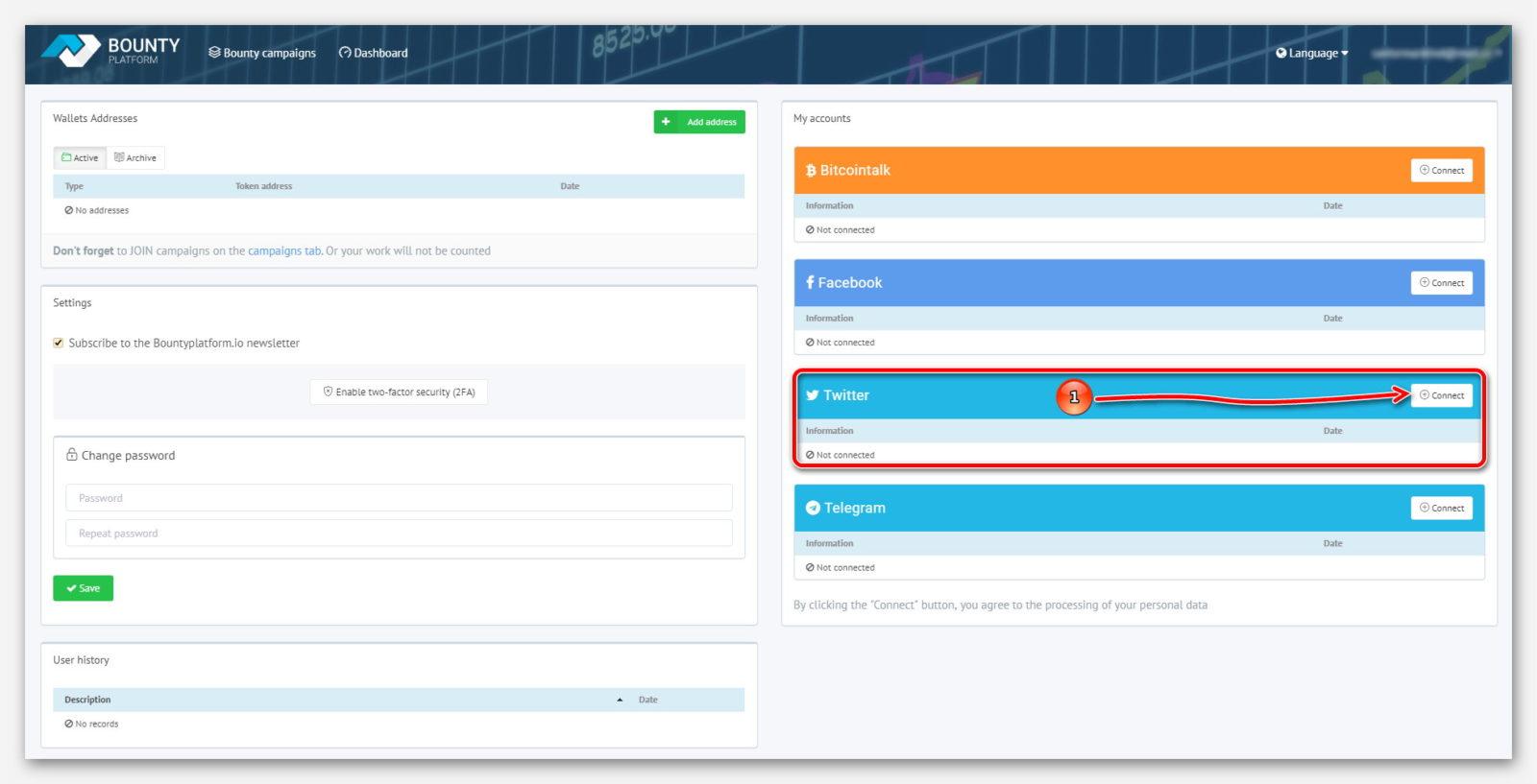 Кнопка для подключение Twitter, к платформе BountyPlatform