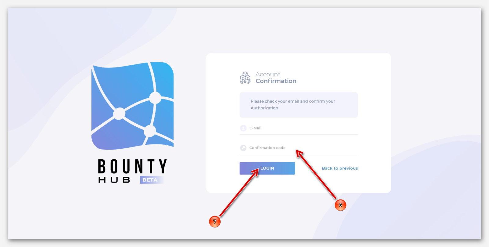 Страница подтверждение кода, на платформе BountyHub