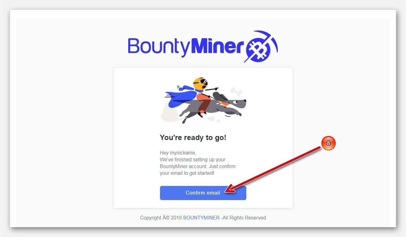 Подтверждение регистрации на платформе BountyMiner