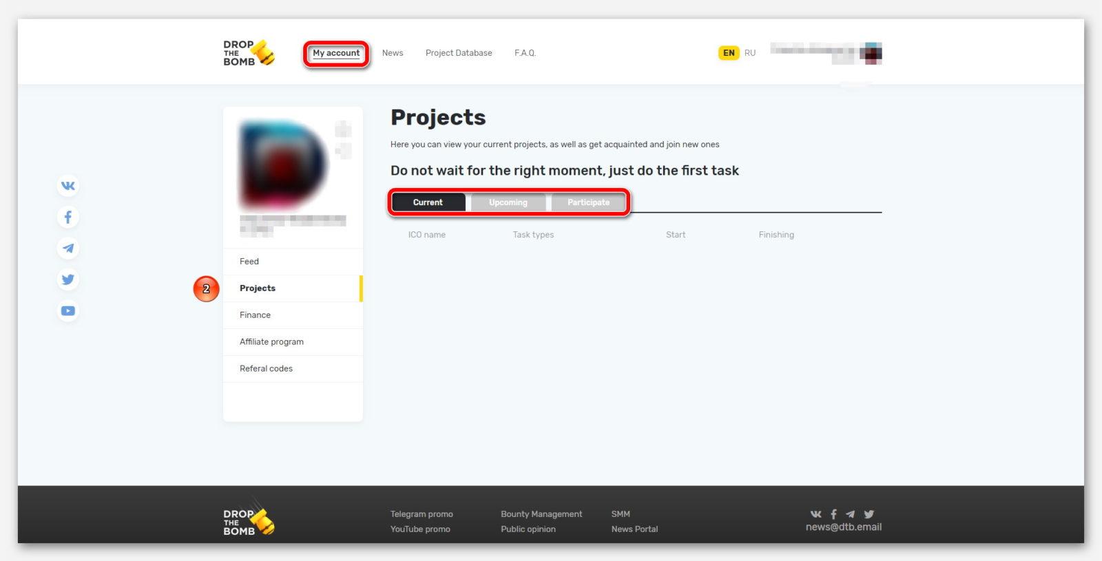 Проекты, на платформе DropTheBomb