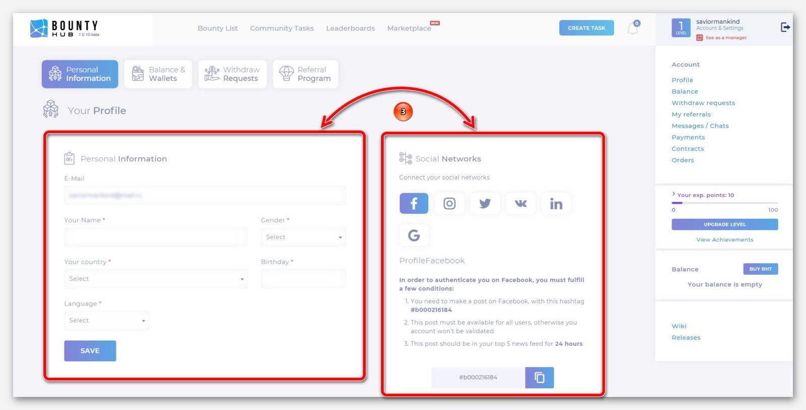 Профиль пользователя и социальные сети для подключение, на платформе BountyHub