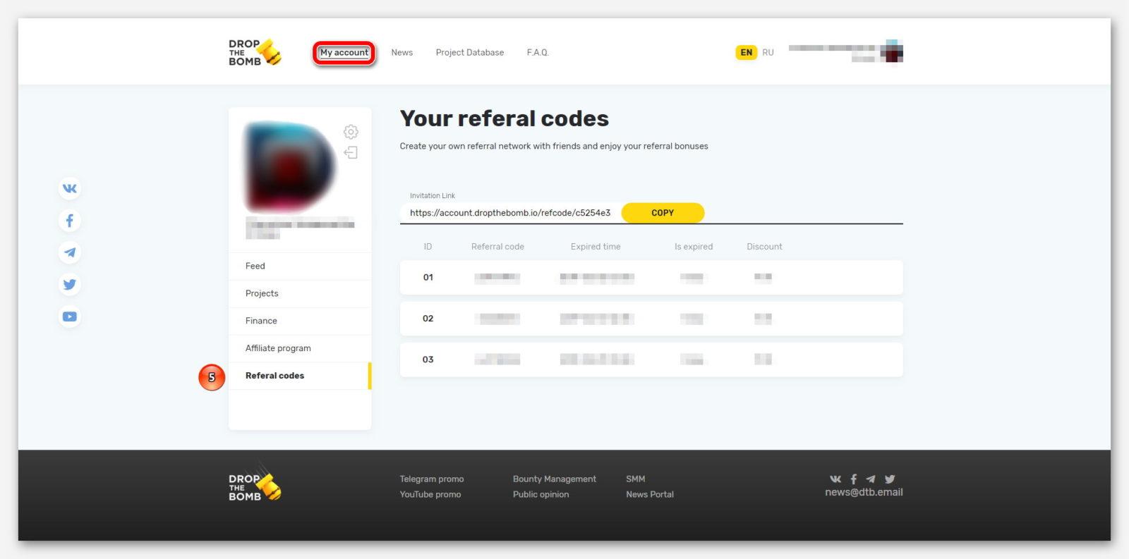 Реферальные коды, на платформе DropTheBomb