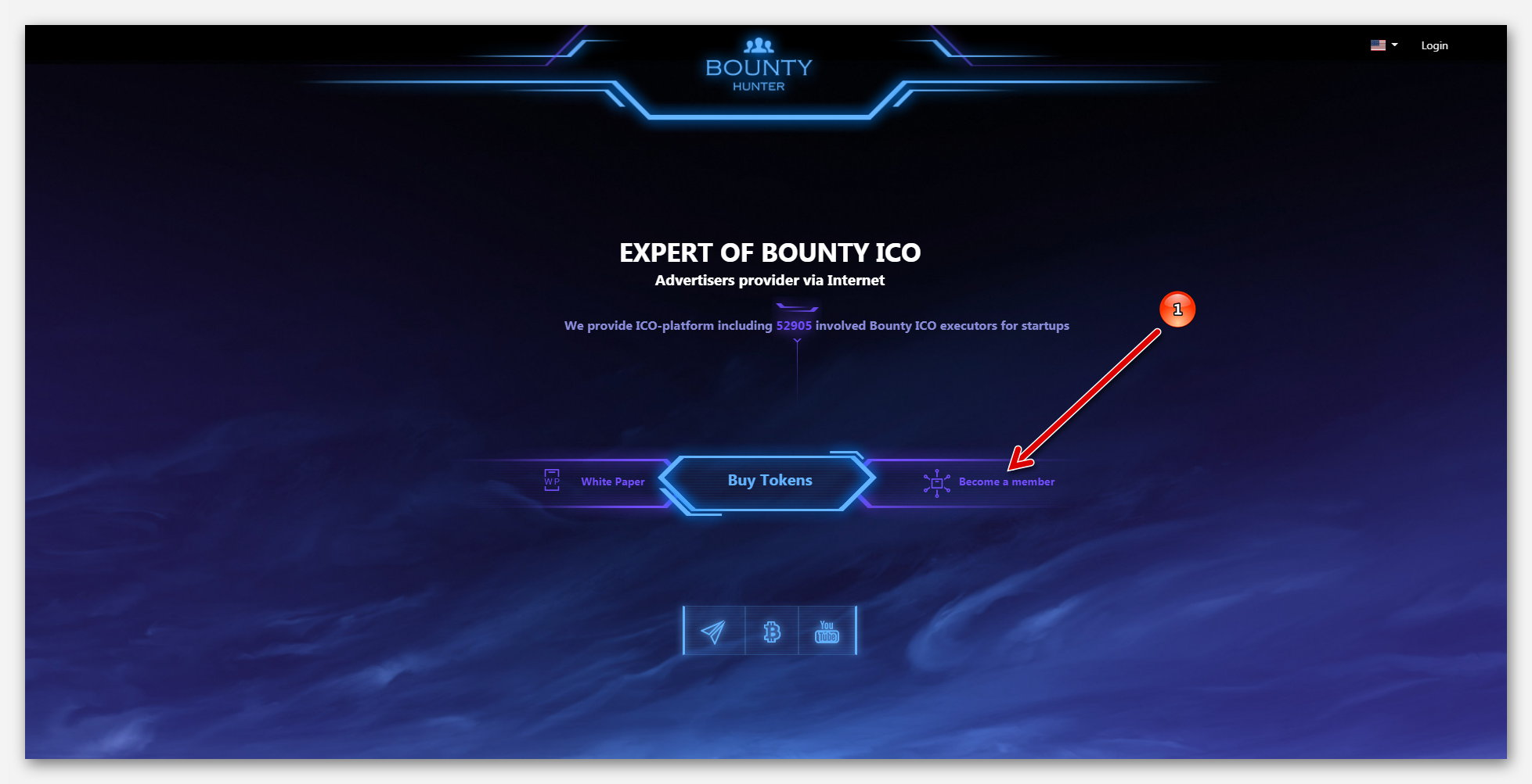 Главная страница, на платформе BountyHunter