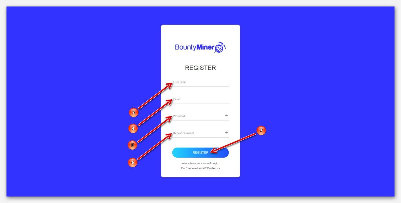Страница регистрации, на платформе BountyMiner