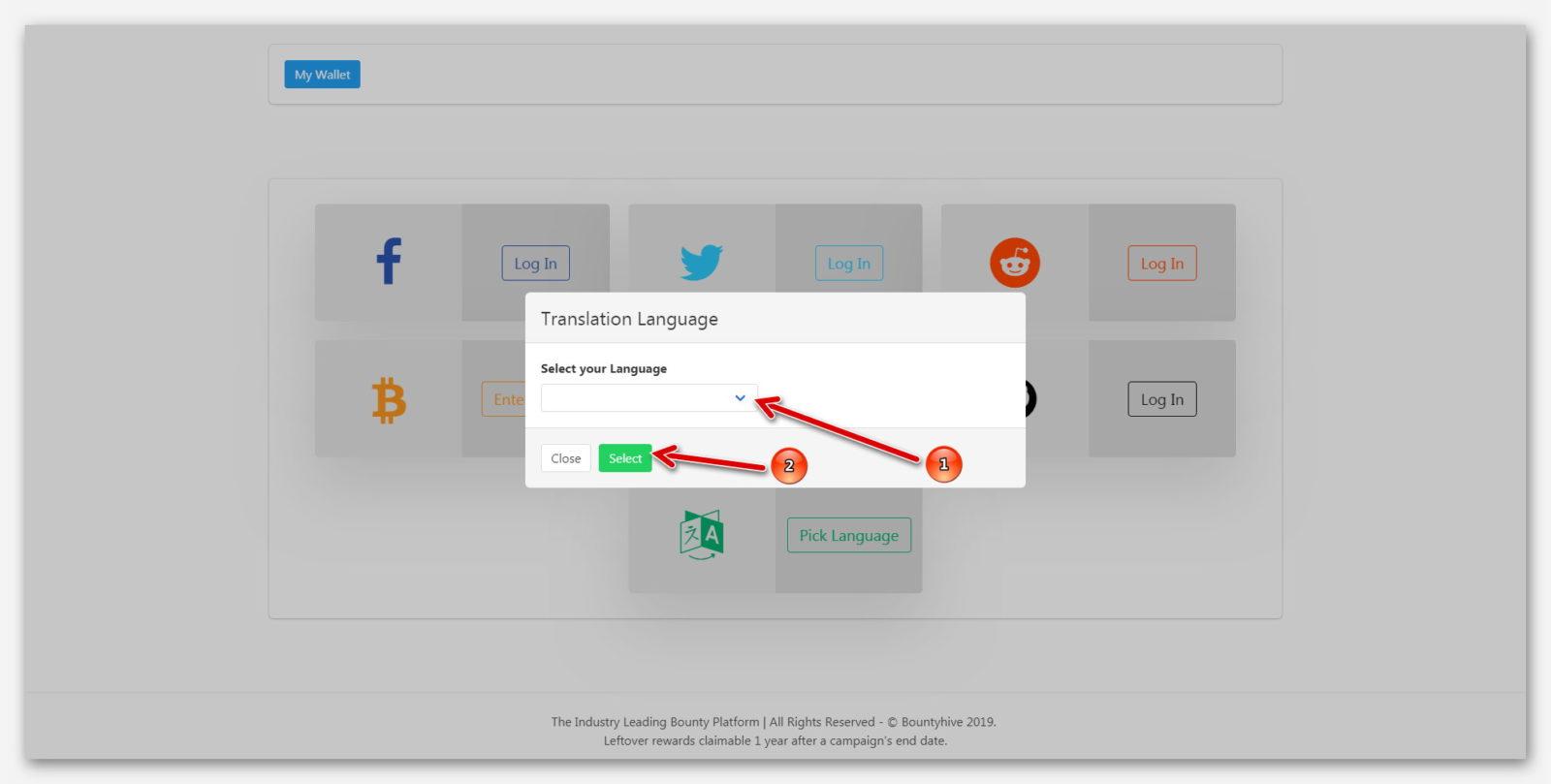 Раздел для выбора языка, на платформе BountyHive