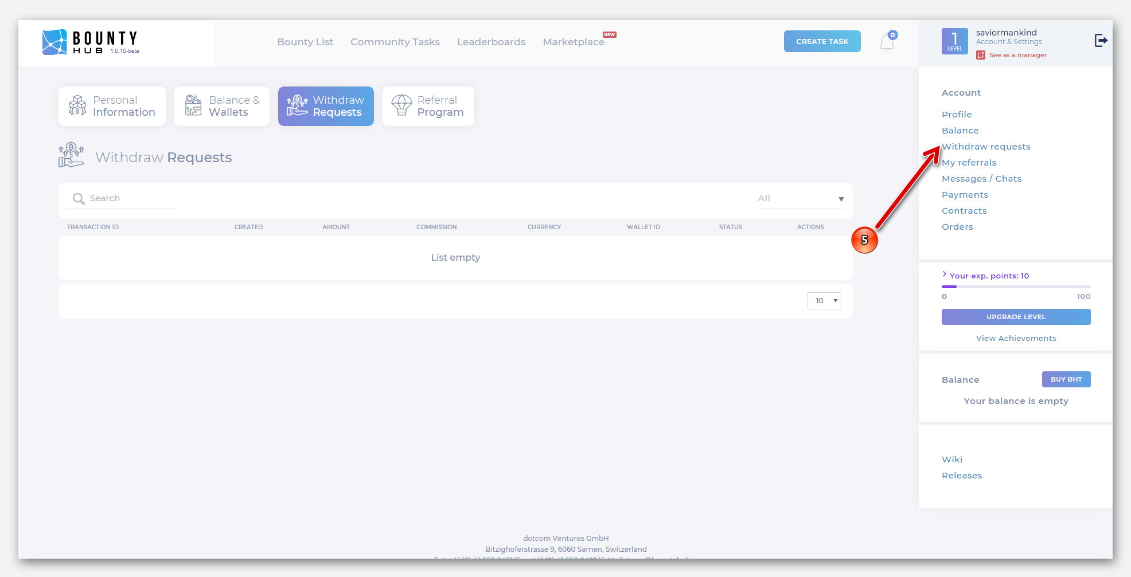 Вывод средств на платформе BountyHub