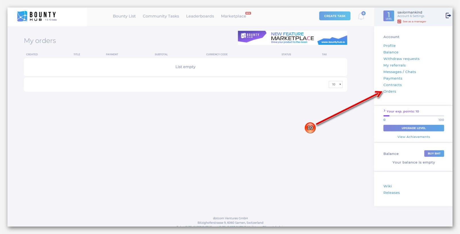 Раздел заказов, на платформе BountyHub