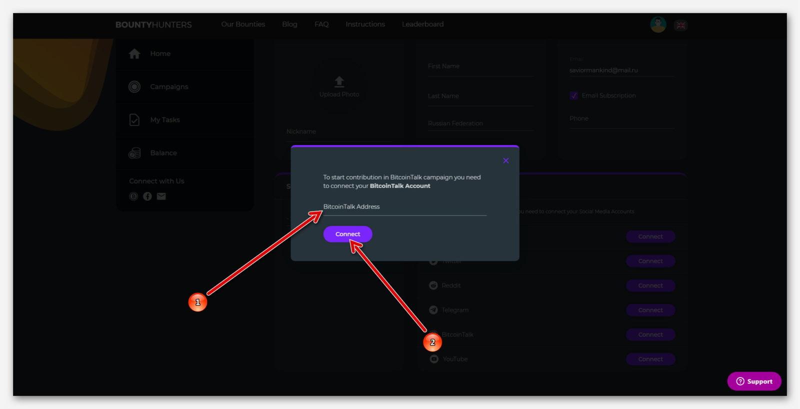 Форма для ссылки от профиля BitcoinTalk на платформе Bountyhunters