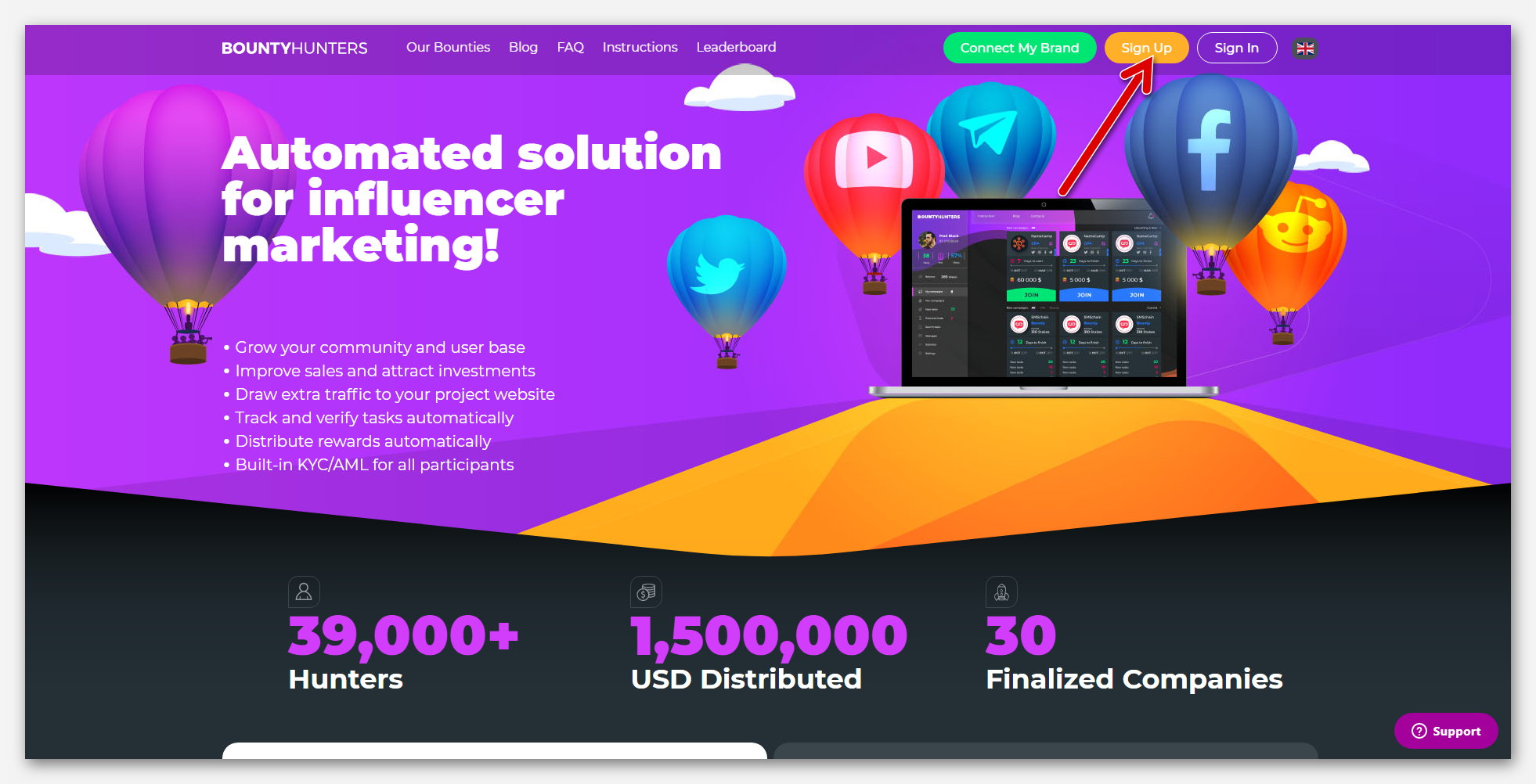 Главная страница на сайте Bountyhunters, криптовалютный проект