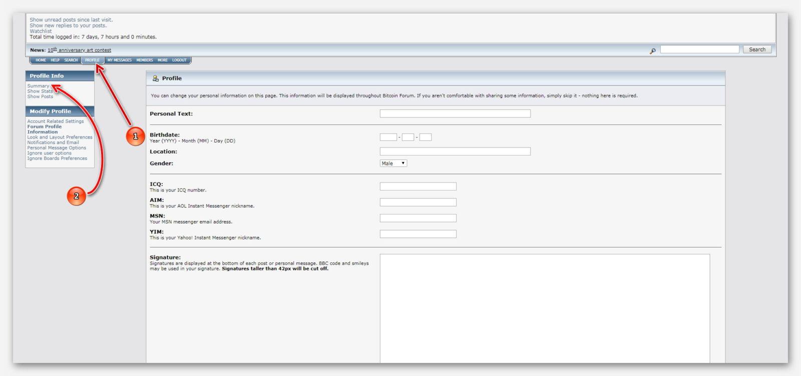 Настройки профиля на форуме Bitcointalk