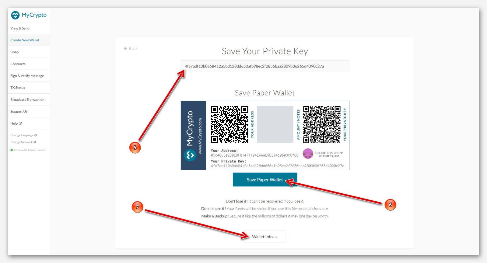 Приватный ключ от Ethereum кошелька MyCrypto