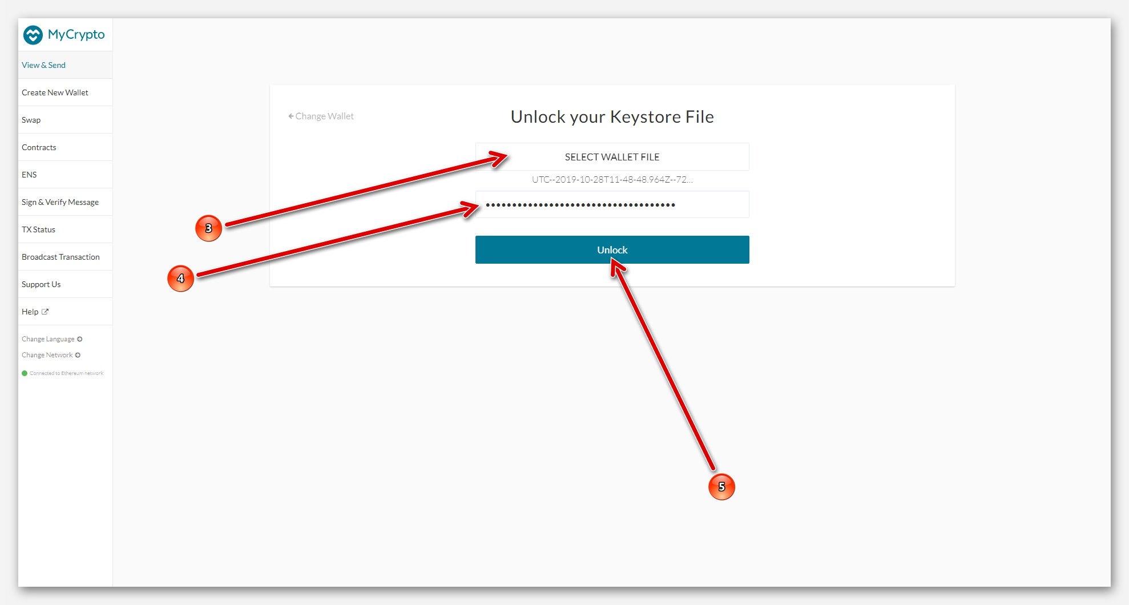 Вход в Ethereum кошелёк MyCrypto, с помощью Keystore File