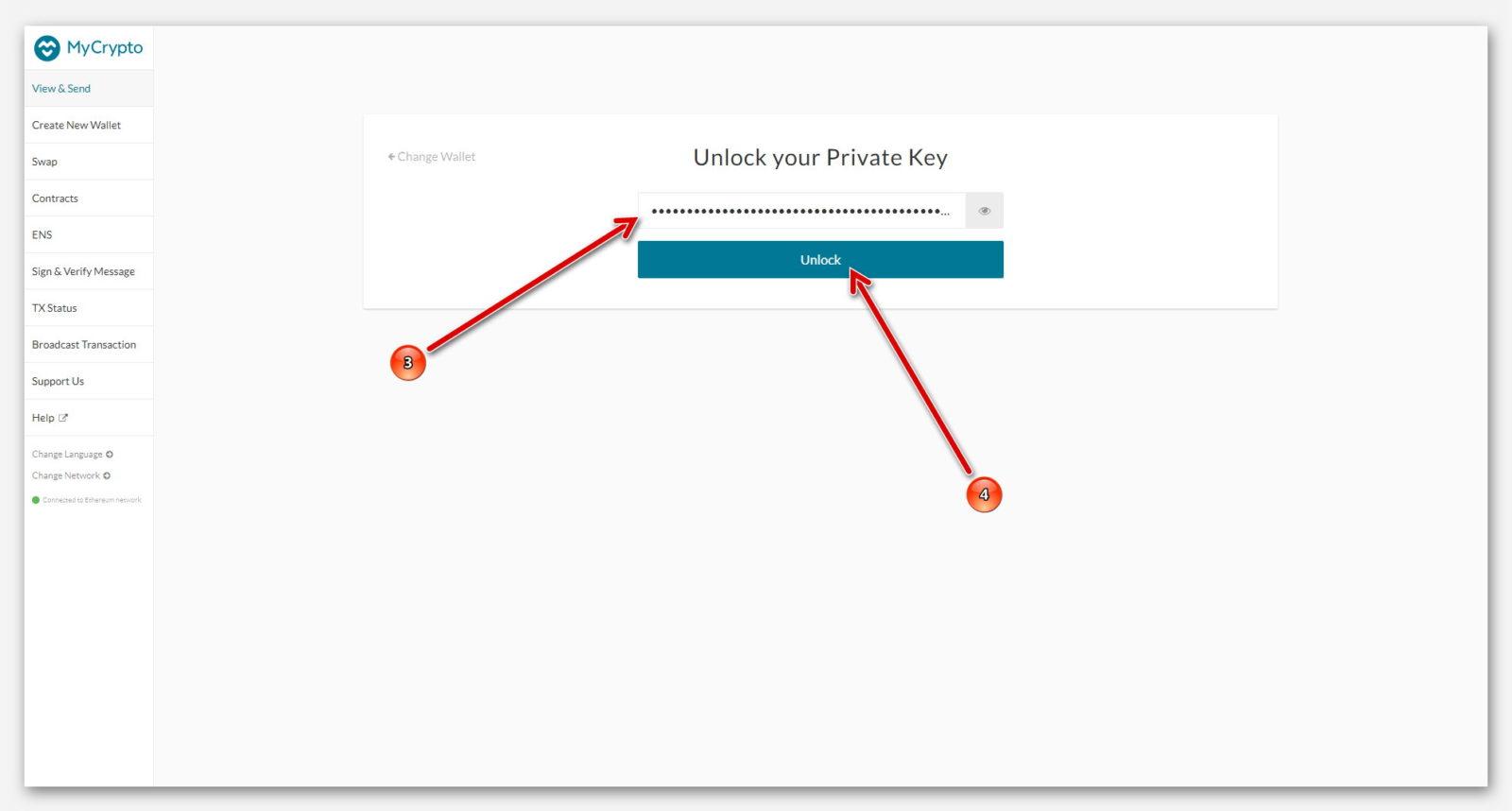 Входим в кошелёк MyCrypto, с помощью приватного ключа