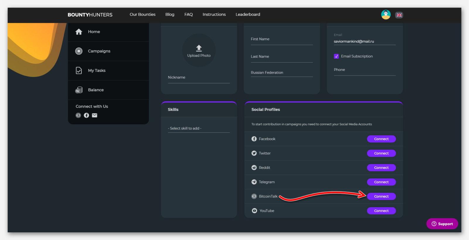 Подключение BitcoinTalk к платформе BountyHunters