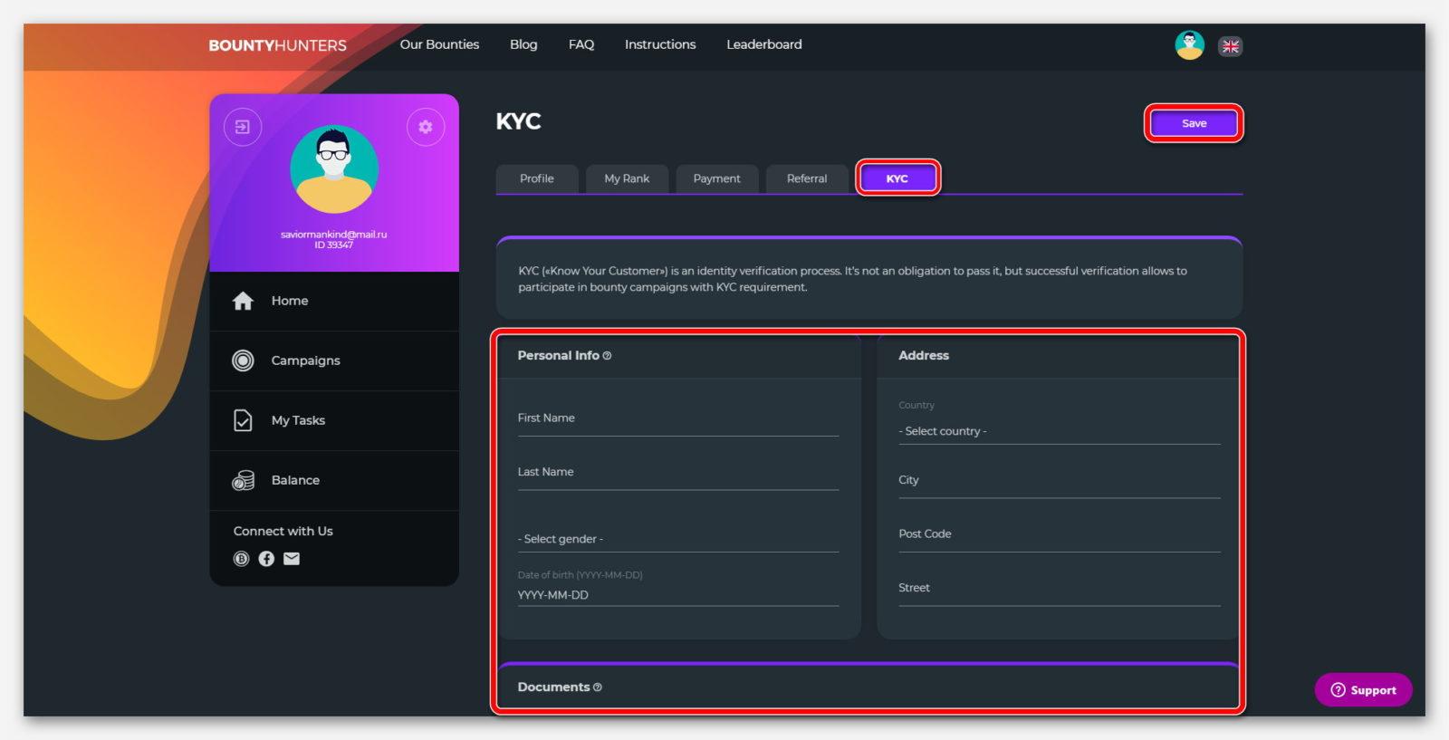 Проверка документов, на сайте о заработке криптовалют BountyHunters