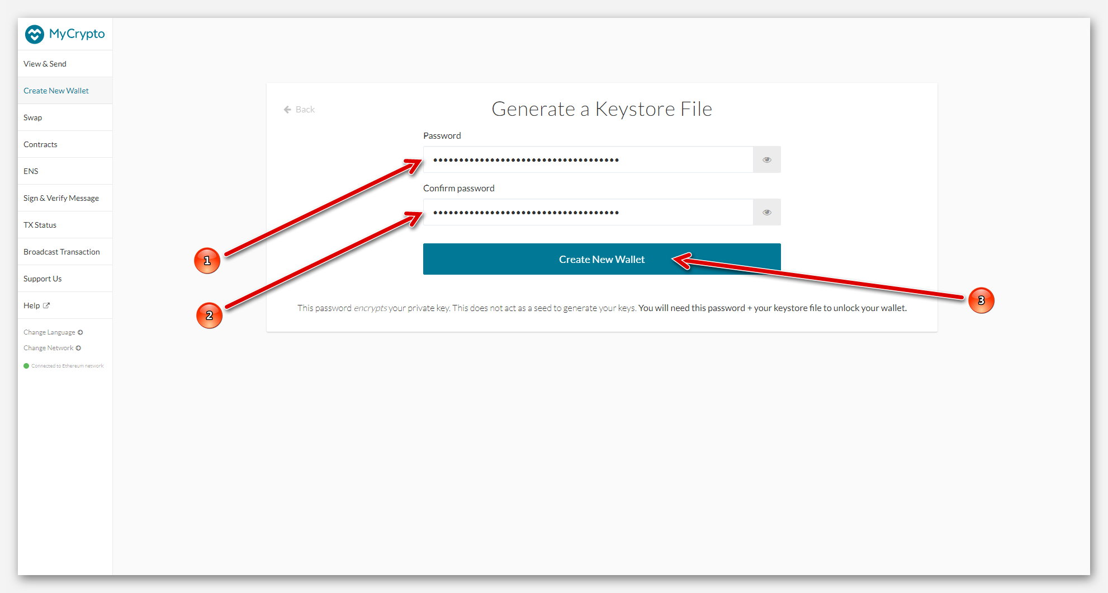Создание кошелька MyCrypto, с помощью Keystore File