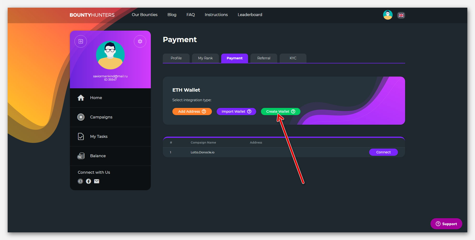 Зелёная кнопочка, для создание нового Ethereum кошелька, на платформе BountyHunters
