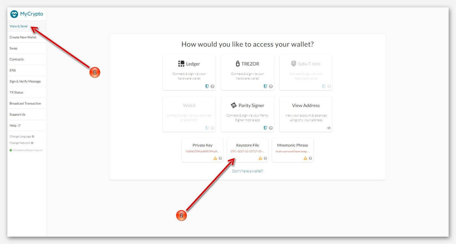 Войти в кошелёк с помощью Keystore File