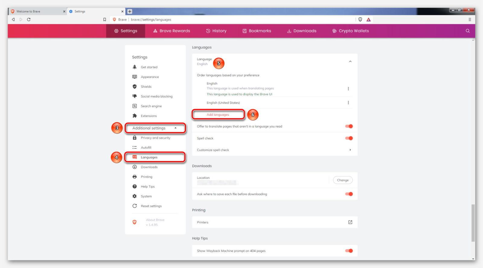 Настройки языка в браузере Brave