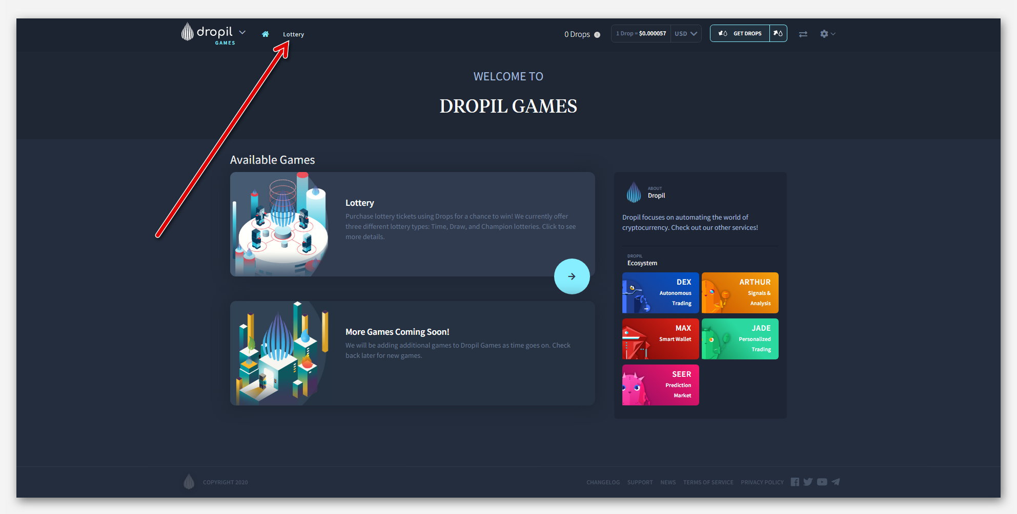 Домашняя страница, в проекте Dropil Games, от компании Dropil