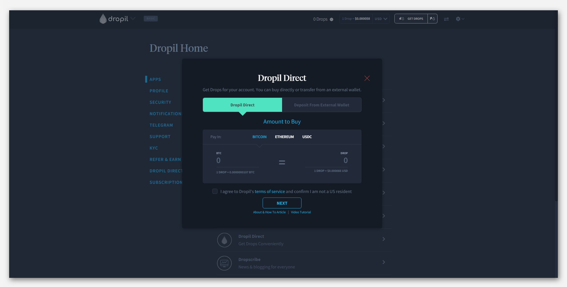 Инструмент Dropil Direct для покупки токенов DROP, в проекте Dropil