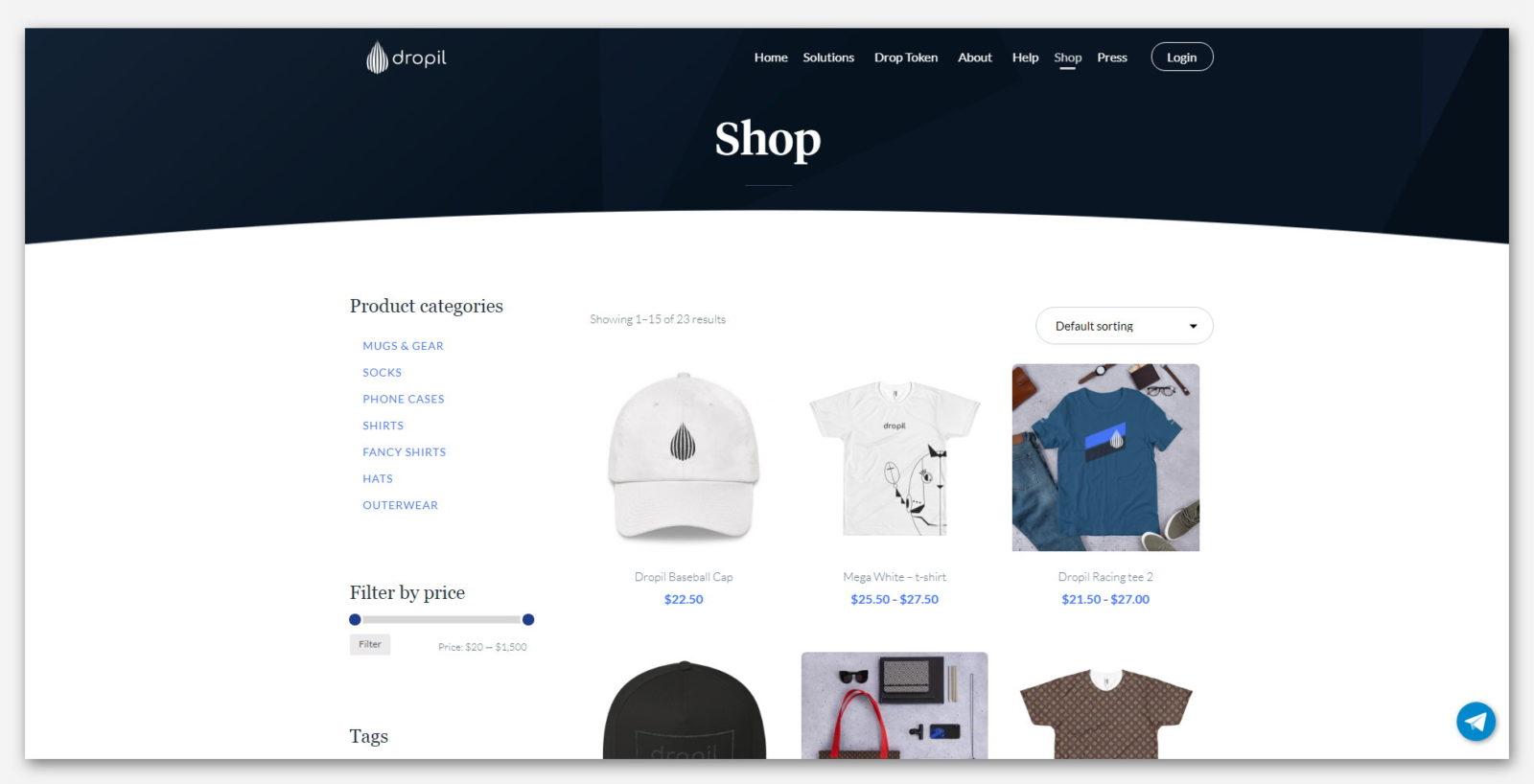 Магазин одежды и предметов, в компании Dropil