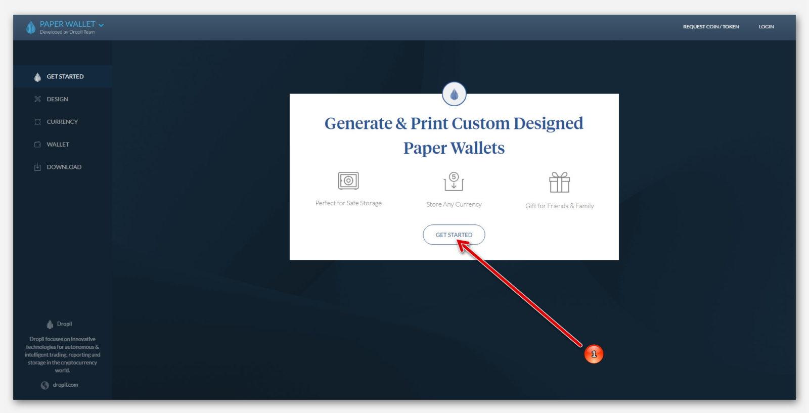Начало создание бумажного кошелька в Paper Wallet, от компании Dropil